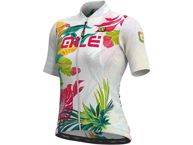 Alé Cycling Solid Tropika Maillot Manches courtes Femme, white/multicolour